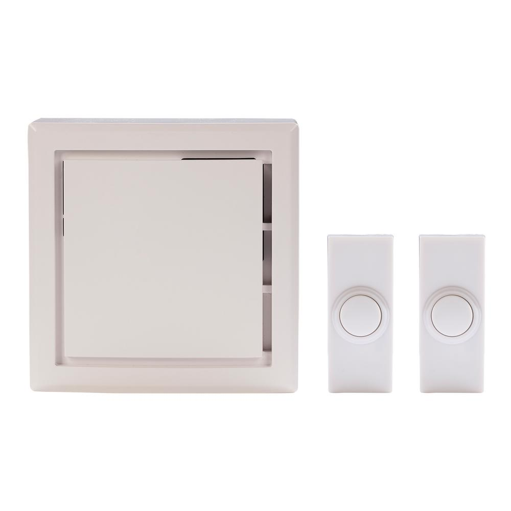 Hampton Bay Wireless Plug-In Door Bell Kit with 2-Push Buttons in White
