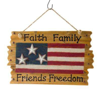 14.96 in. H Patriotic Wooden Flag Wall Decor