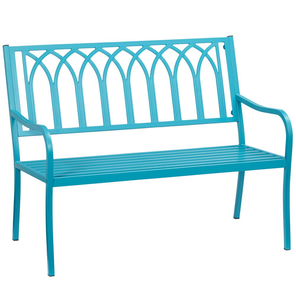 Hampton Bay Isabella Turquoise Metal Outdoor Bench S548 29a The Home Depot