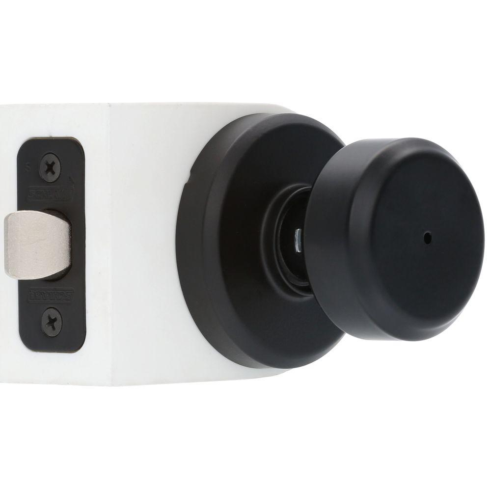Bowery Matte Black Privacy Bed/Bath Door Knob With Greyson Trim