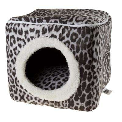 Small Gray/Black Animal Print Cozy Cave Pet Cube