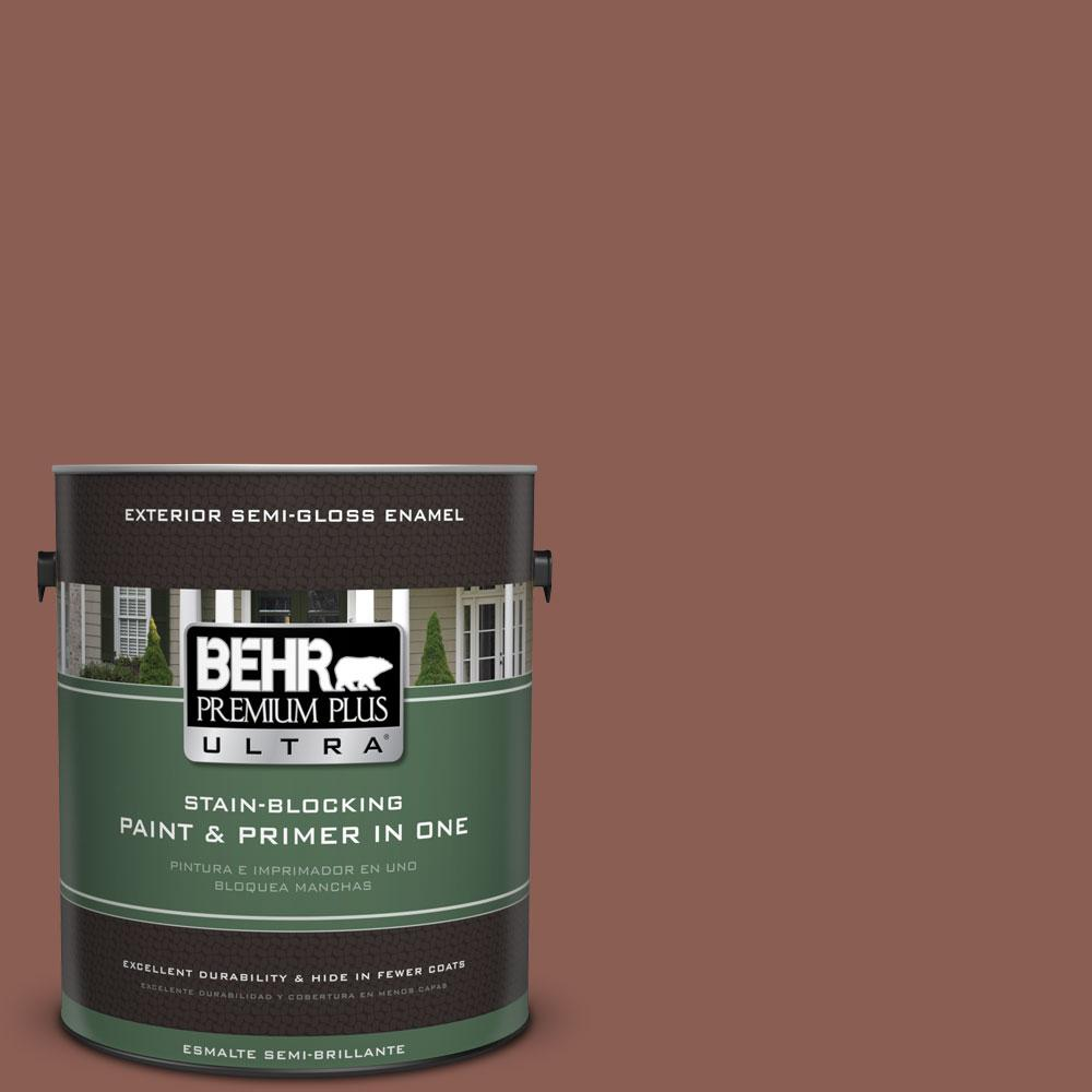 BEHR Premium Plus Ultra 1-gal. #S170-6 Red Curry Semi-Gloss Enamel Exterior Paint