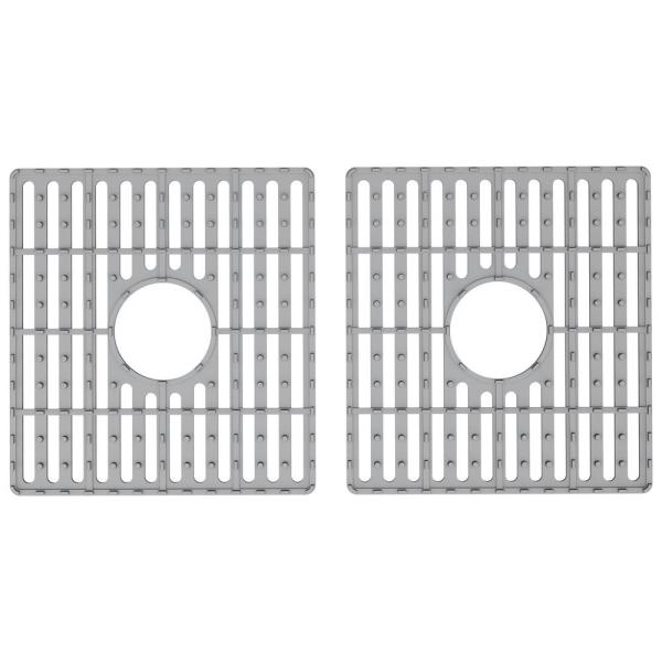 15 in. x 15 in. Silicone Bottom Grid for 33 in. Double Bowl Composite Kitchen Sink in Gray (2-Pack)