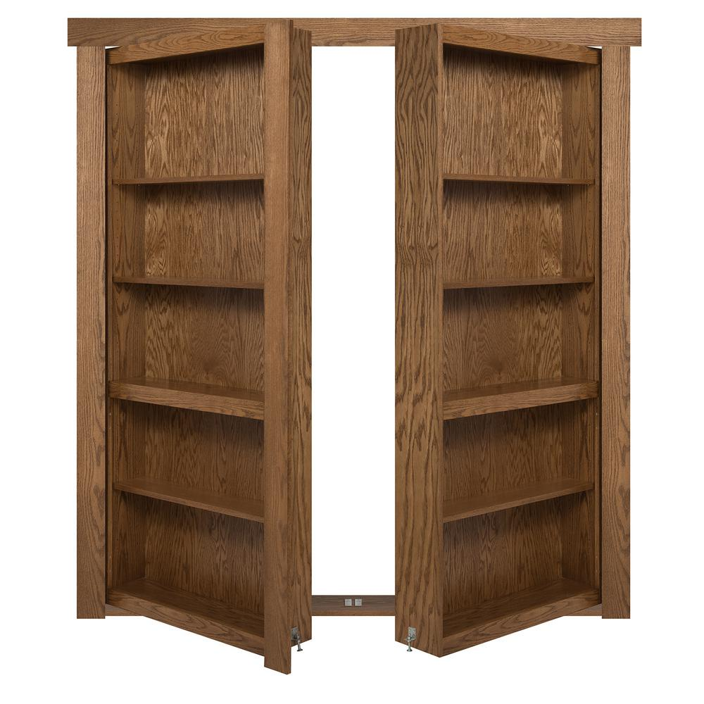 The Murphy Door 48 in. x 80 in. Flush Mount Assembled Oak Medium Stained Out-Swing Solid Core Interior French Bookcase Door