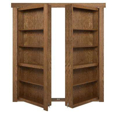 60 in. x 80 in. Flush Mount Assembled Oak Medium Stained In-Swing Solid Core Interior French Bookcase Door