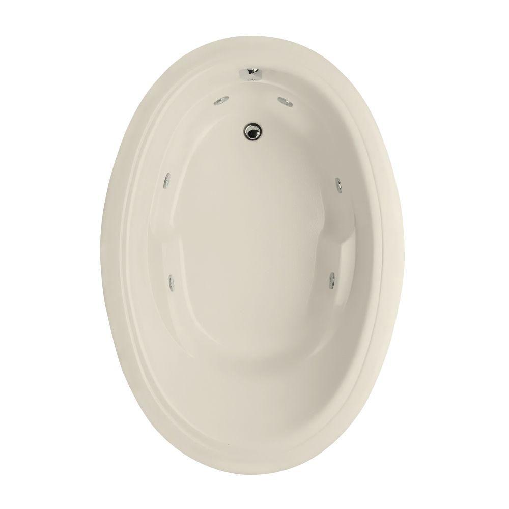 Studio Oval 5.5 ft. Reversible Drain Air Bath Tub in Biscuit