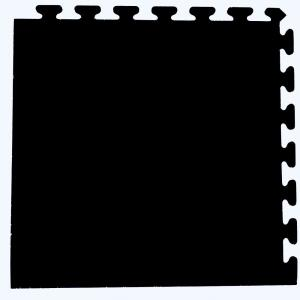 Solid Black 24 in. x 24 in. Finished Corner Recycled Rubber Floor Tile (16 sq. ft./ case)