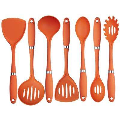 7-Pieces Nylon Utensil Set in Orange