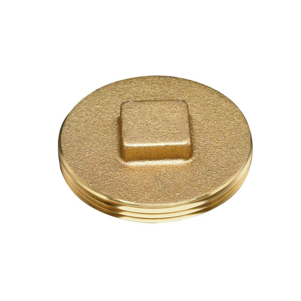 Oatey 2 in. Brass DWV Threaded Raised-Head Cleanout Plug