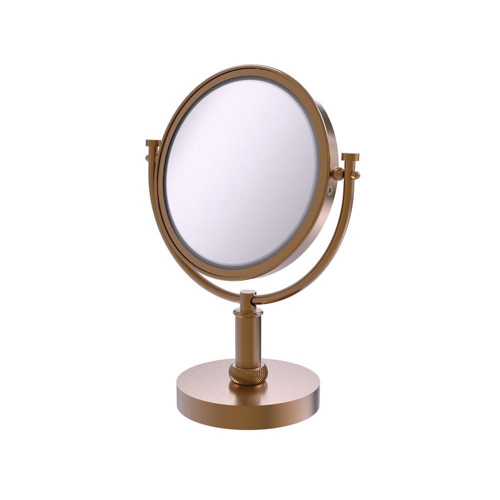 8 in. Vanity Top Makeup Mirror 2X Magnification in Brushed Bronze