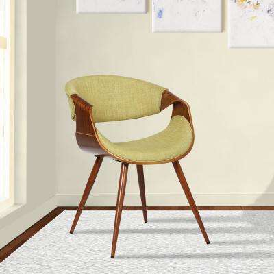 Butterfly 29 in. Green Fabric and Walnut Wood Finish Mid-Century Dining Chair