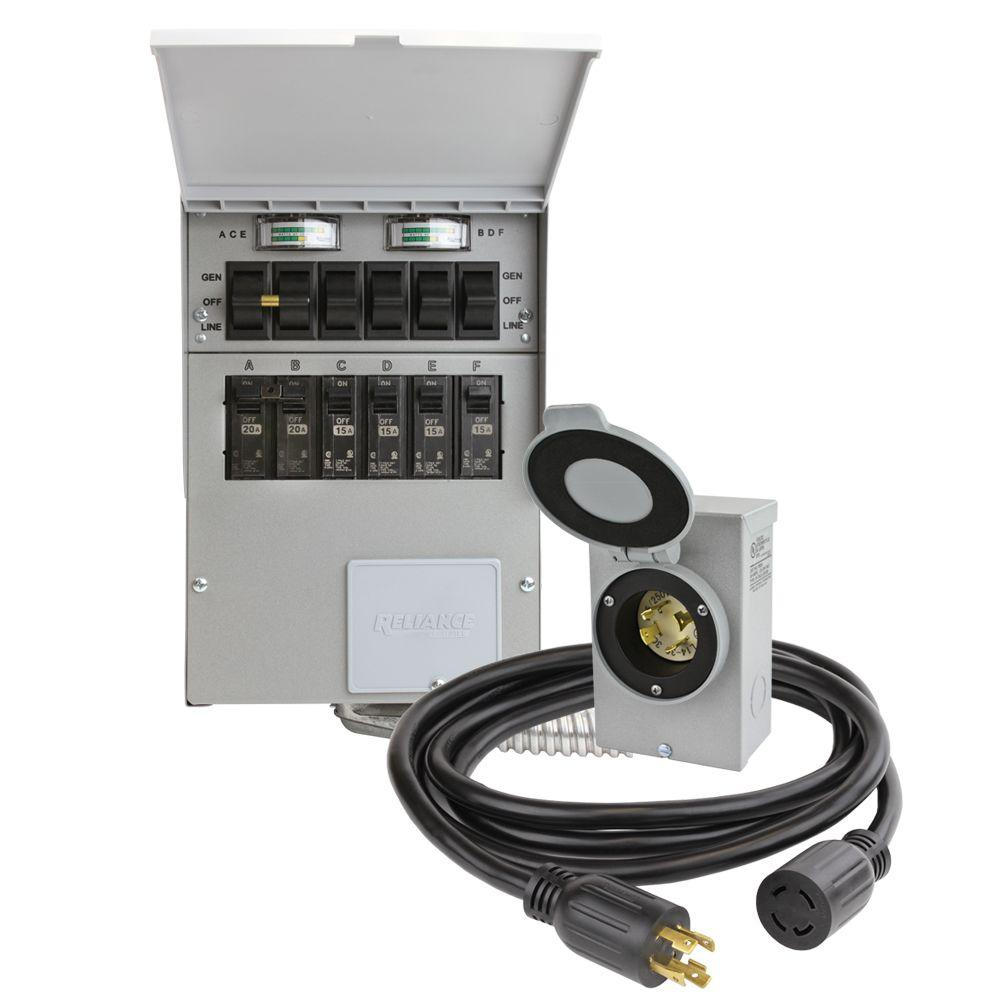 Reliance Controls 30 Amp 250-volt 7500-watt Non-fuse 6-circuit Transfer Switch Kit-3006hdk