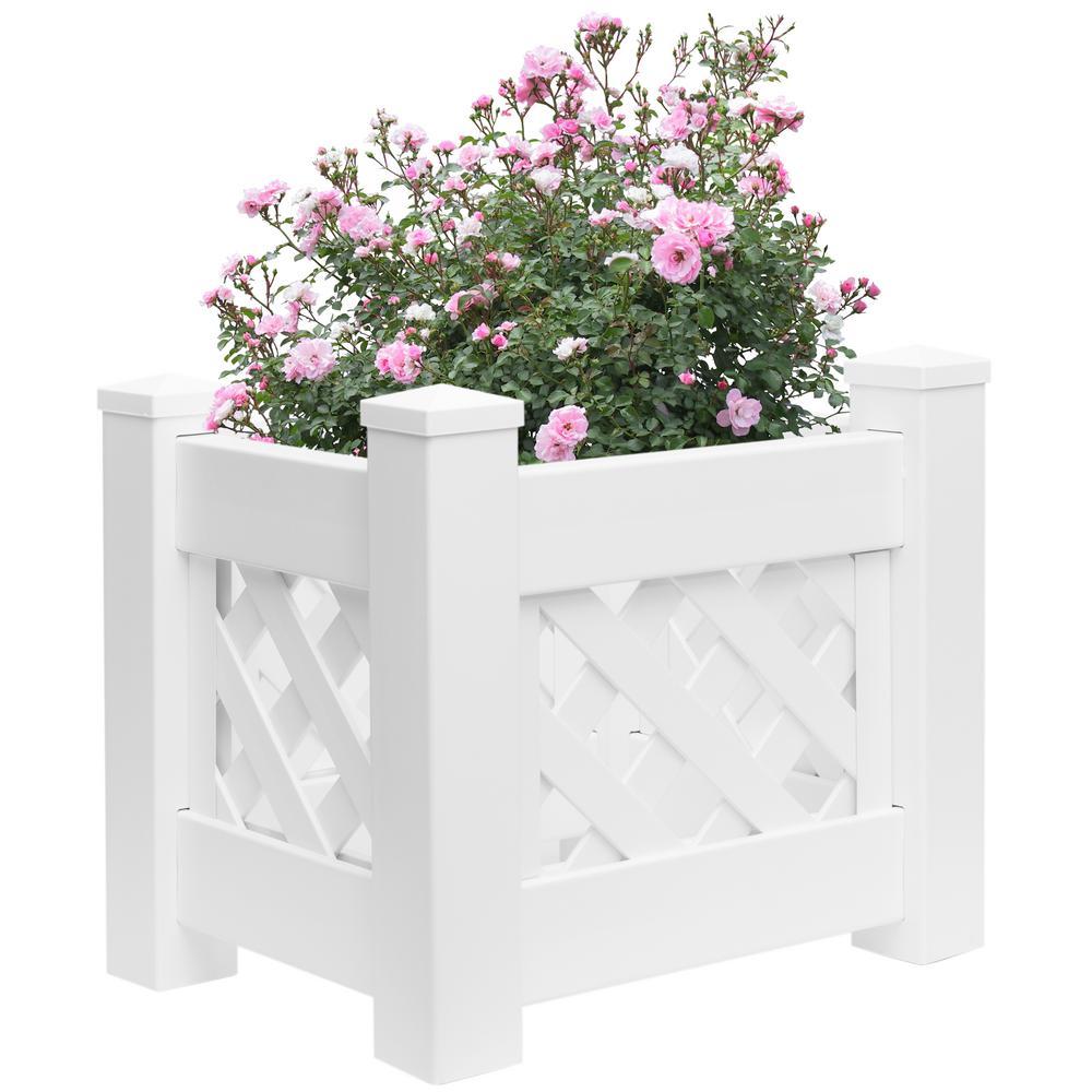 White Vinyl Raised Lattice Fence Bed Planter Trellis Design Screwless Elevated Garden Box