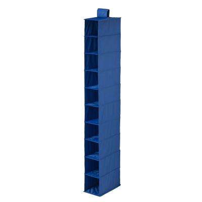 10-Shelf Navy Polyester Hanging Shoe Organizer