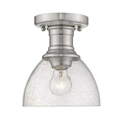 Hines 1-Light Pewter with Seeded Glass 6.88 in. Semi-Flush-Mount
