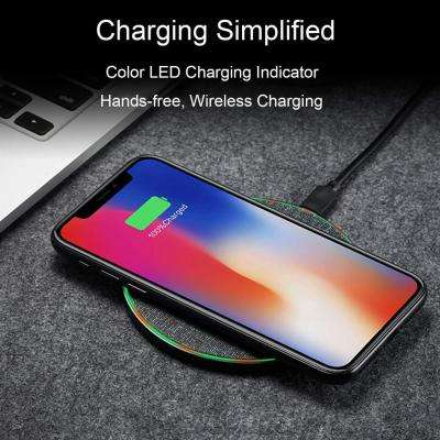 W4 Ultra-Thin Wireless Charging Pad Slim Luxury Fabric Design Wireless Charger for Apple iPhone & Samsung Galaxy
