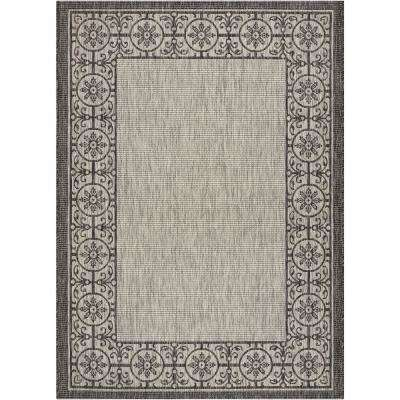 Country Side Ivory/Charcoal 5 ft. 3 in. x 7 ft. 3 in. Indoor/Outdoor Area Rug