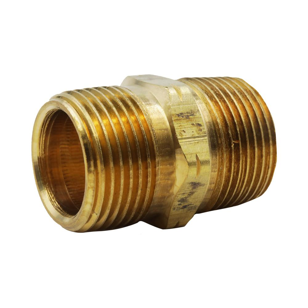 3/4 in. x Close MIP Brass Hex Nipple Fitting