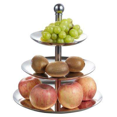 10.5 in. x 10.5 in. x 13 in. 3 Tiers Stainless Steel Cupcake and Fruit Stand