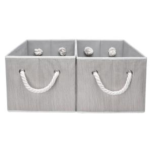 9-Gal. Rectangle Polyester Storage Bin with Cotton Rope Handles in Clay (Set of 2)
