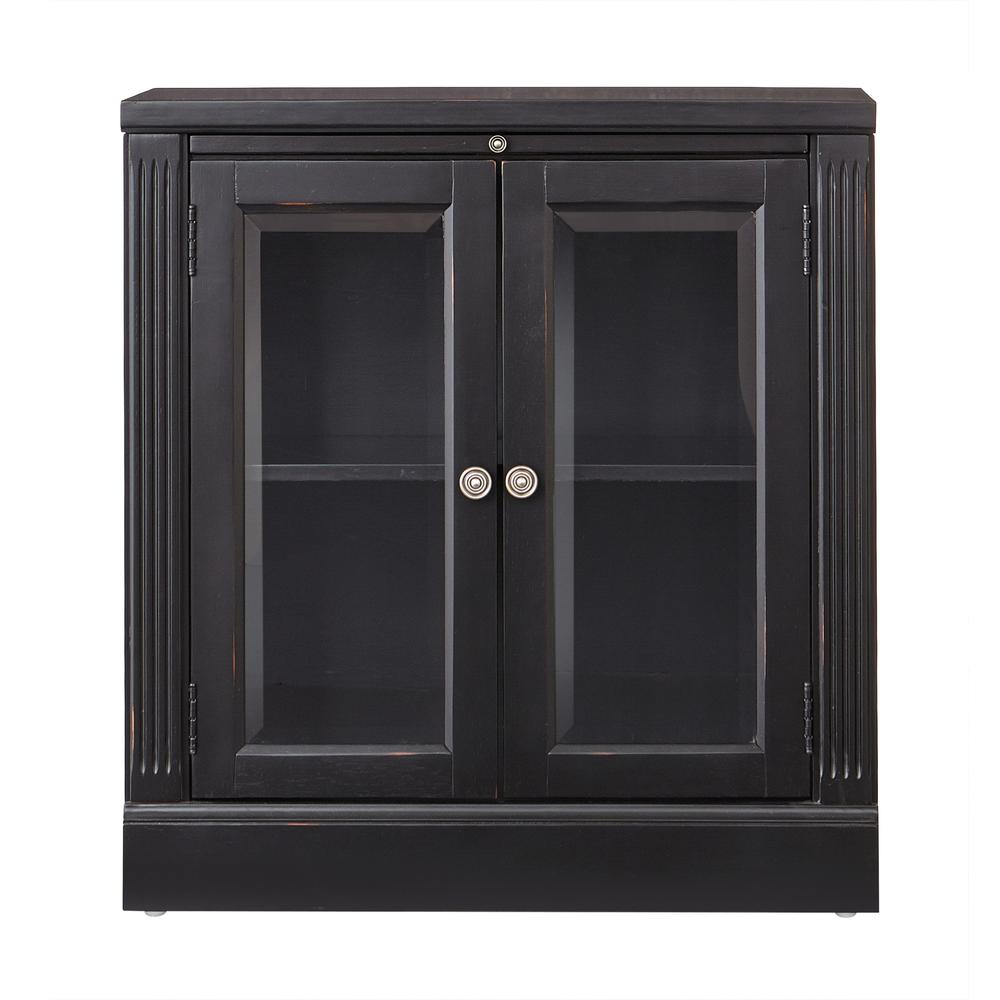 Edinburgh Black Storage Glass Door Cabinet 6293 887 The Home Depot