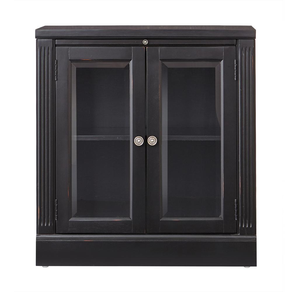 Edinburgh Black Storage Glass Door Cabinet