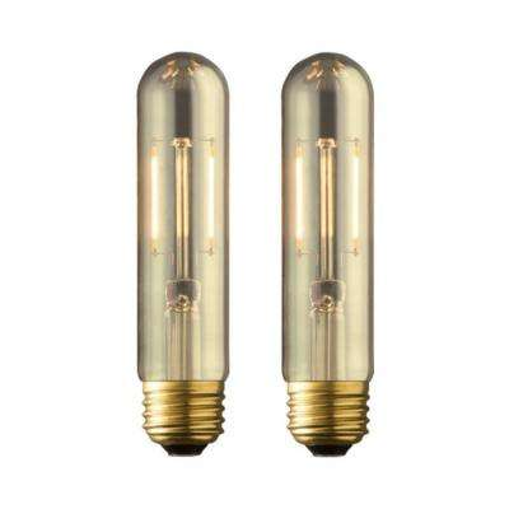 40W Equivalent Warm White T10 Amber Lens Vintage Tubular Dimmable LED Light Bulb (2-Pack)