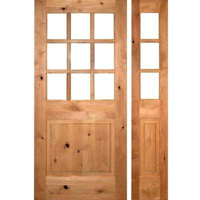 50 in. x 80 in. Craftsman Knotty Alder 9-Lite Unfinished Left-Hand Inswing Prehung Front Door with Right Hand Sidelite