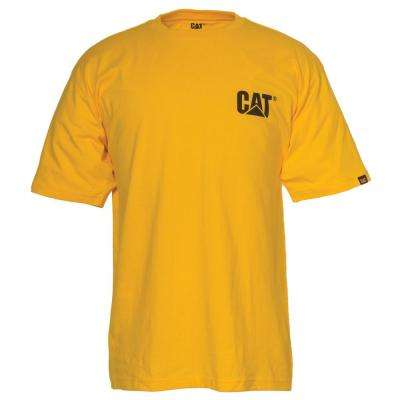 Men's Large Yellow Cotton Short Sleeved T-Shirt
