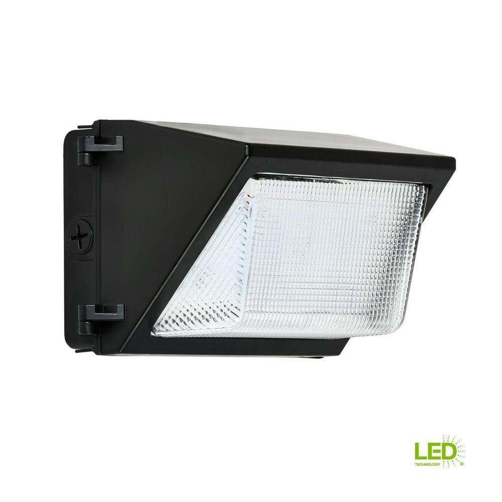 52-Watt Black Outdoor Integrated LED Rectangular Wall Pack Light