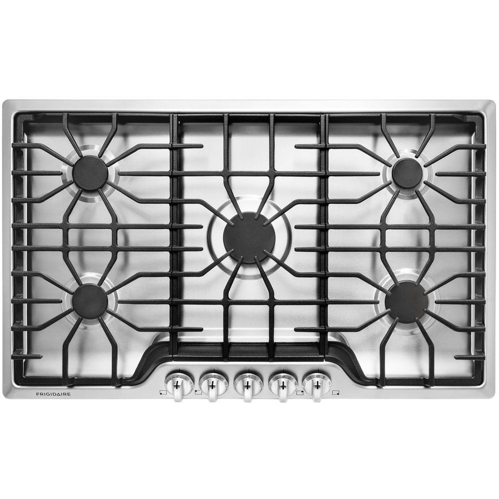 frigidaire 36 in gas cooktop in stainless steel with 5 burners ffgc3626ss the home depot. Black Bedroom Furniture Sets. Home Design Ideas