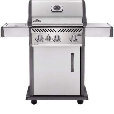 Rogue 425 3-Burner Propane Gas Grill in Stainless Steel with Range Side-Burner
