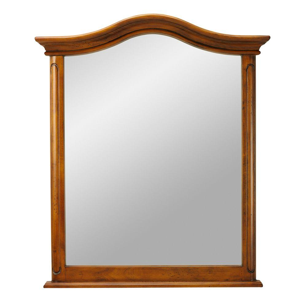 Home Decorators Collection Provence 29 in. W x 33 in. L Wall Mirror in Chestnut
