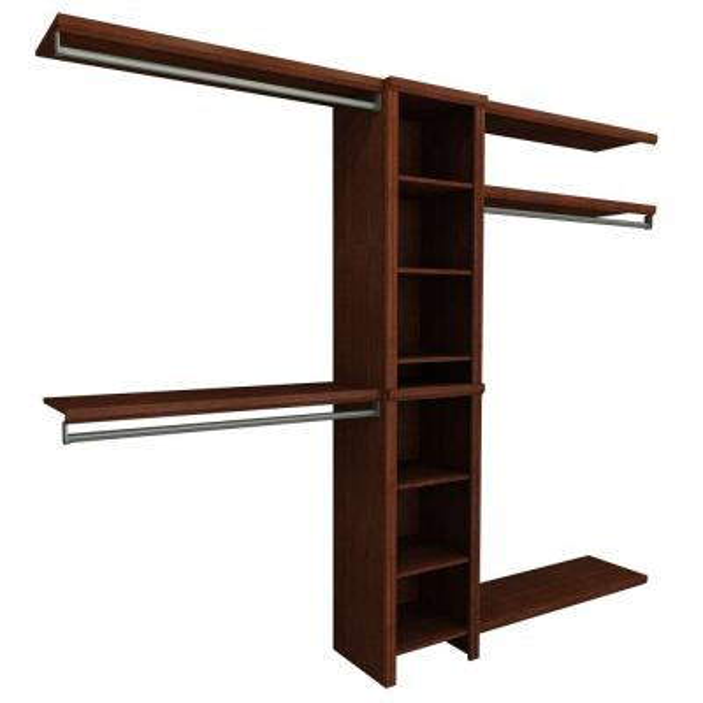 Impressions Basic 48 in. W - 108 in. W Dark Cherry Wood Closet System
