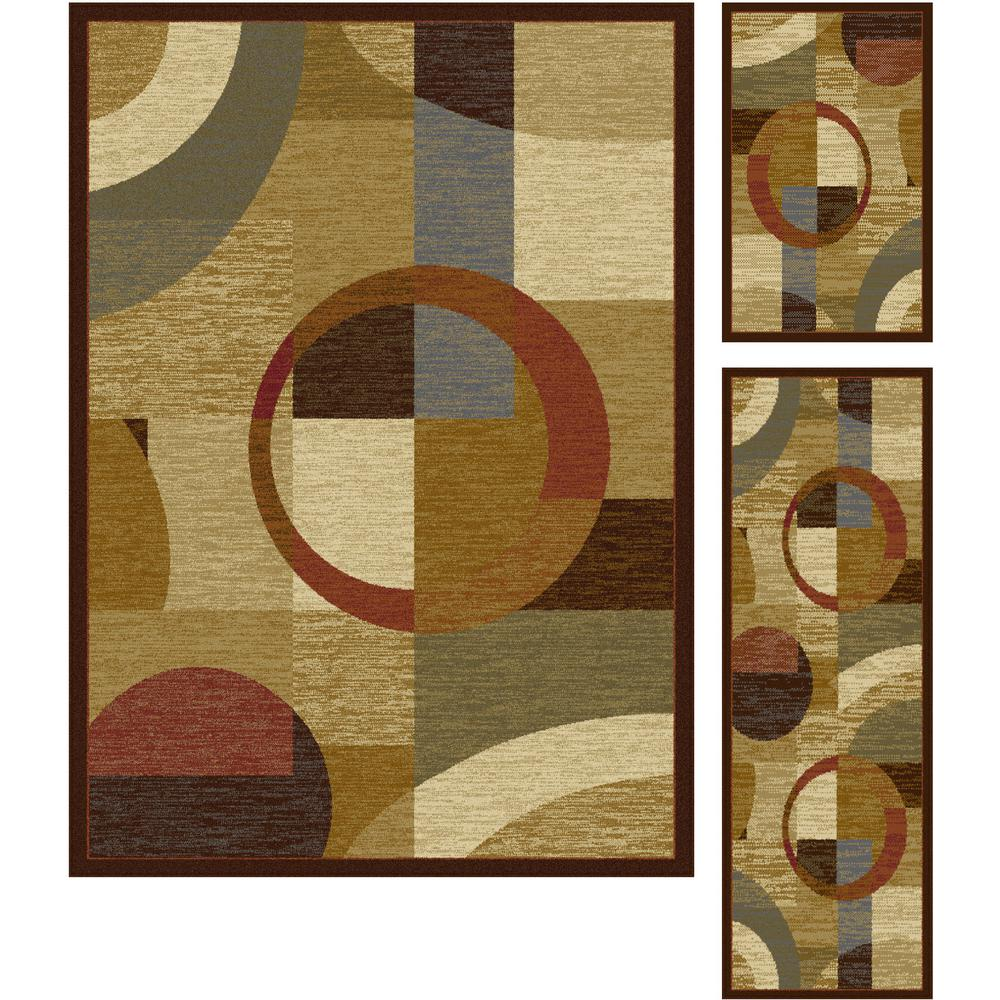 Tayse Rugs Elegance Multi 5 Ft X 7 Ft 3 Piece Rug Set 5110 Multi 3