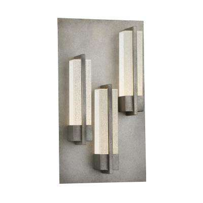 Pari 3-Light Antique Silver Integrated LED Outdoor Wall Sconce