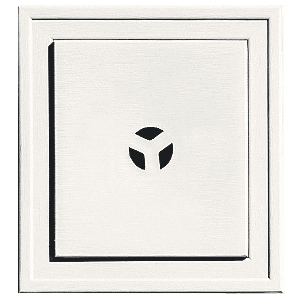 Builders Edge 7.3125 in. x 7.9375 in. #123 White Slim Line Mounting Block