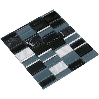 Tallia/03, Gray/White/Black, 3 in. x 6 in. x 8 mm Glass/Stone/Metal Mesh-Mounted Mosaic Tile Sample