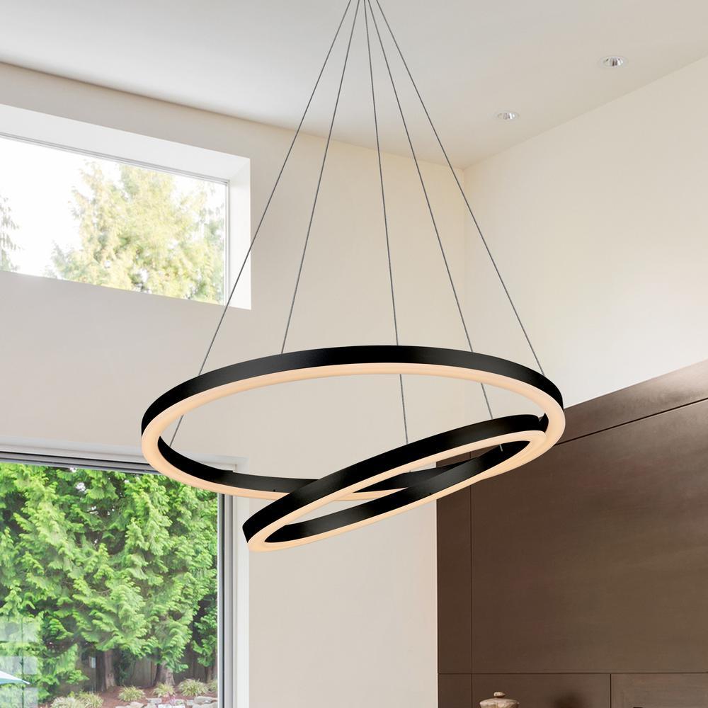 Jinko Led 5w Integrated Ceiling Lamp Bedroom Kitchen: VONN Lighting Tania Duo 60-Watt Black Integrated LED