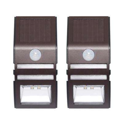 Solar Bronze Motion Activated Integrated LED Deck Light (2-Pack)