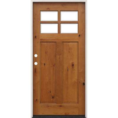 36 in. x 80 in. Golden Oak Right-Hand Inswing 4-Lite Clear Beveled Insulated Glass Stained Alder Prehung Front Door