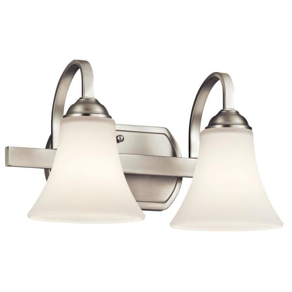 Keiran 2-Light Brushed Nickel Vanity Light with Satin Etched White Glass