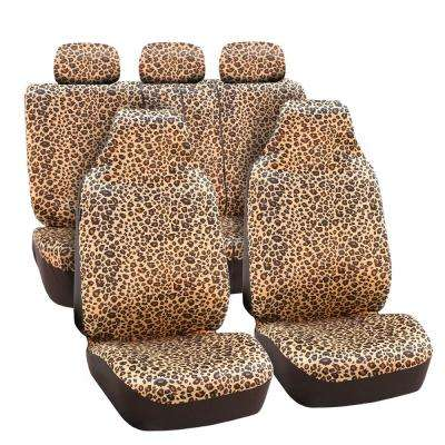 Velour 47 in x 23 in. x 1 in. Classic Leopard Full Set Seat Covers