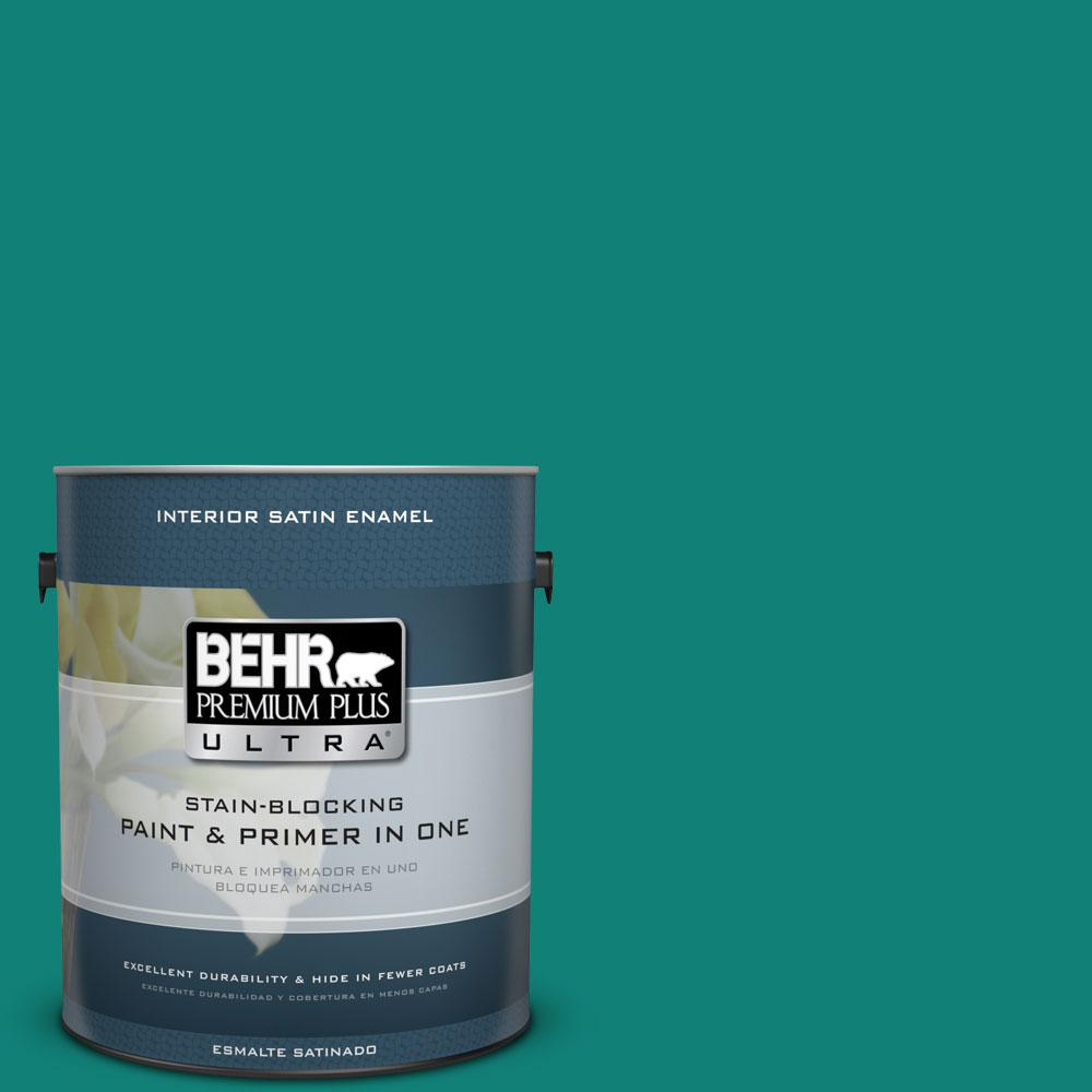 BEHR Premium Plus Ultra Home Decorators Collection 1-gal. #HDC-WR14-9 Green Garlands Satin Enamel Interior Paint