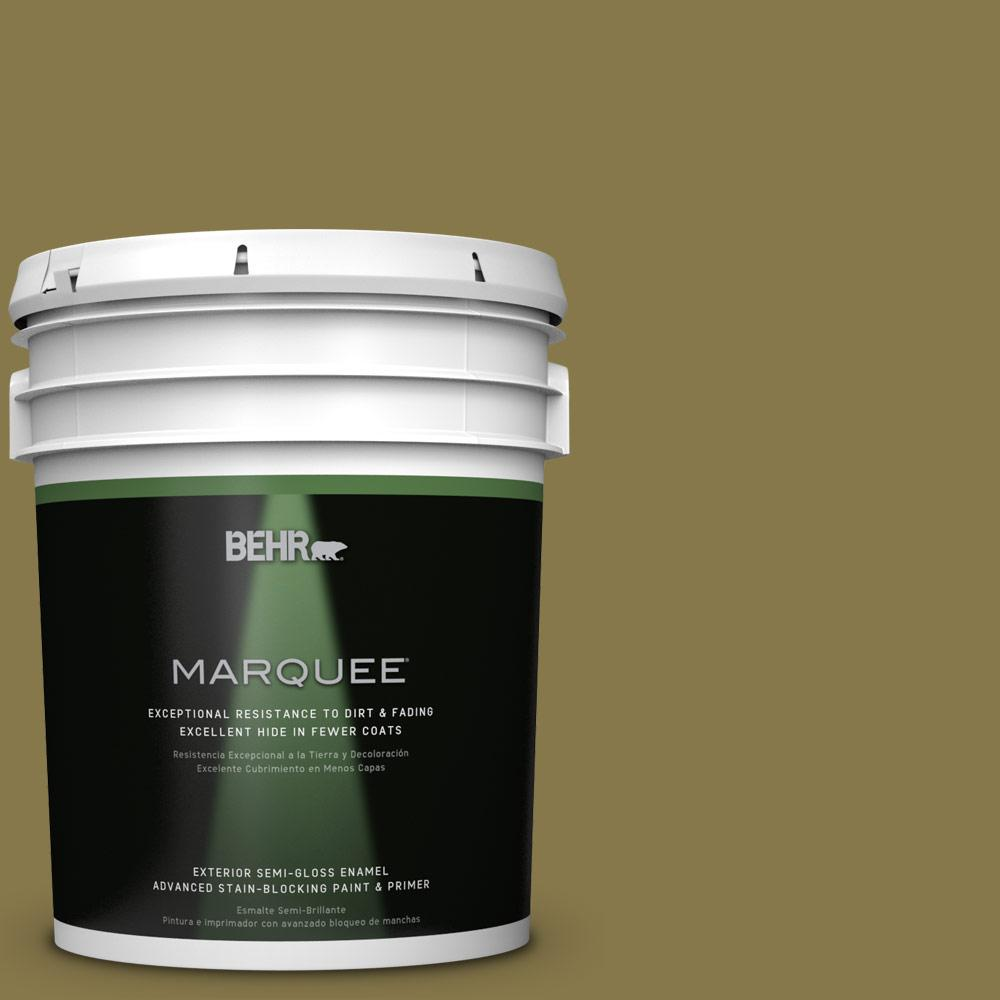 5-gal. #M330-7 Green Tea Leaf Semi-Gloss Enamel Exterior Paint