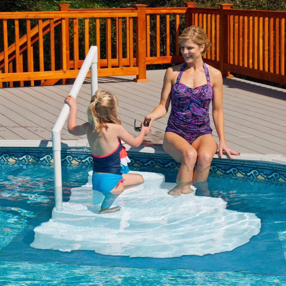 above ground pool steps. Blue Wave White Wedding Cake Above Ground Pool Step With Liner Pad Steps L
