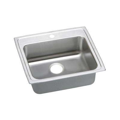 Lustertone Drop-In Stainless Steel 22 in. 1-Hole Single Bowl ADA Compliant Kitchen Sink with 5.5 in. Bowl