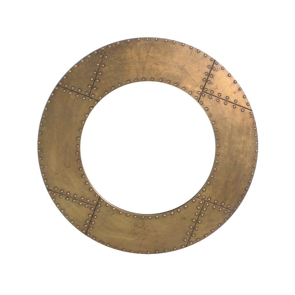 Round Gold Accent Mirror