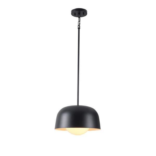 Millie 1-Light  Black Mini Pendant with Outer Metal Shade and Inner White Glass Shade