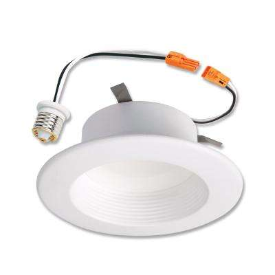 RL 4 in. 3000K Integrated LED Retrofit White Recessed Ceiling Light Fixture  Baffle Trim with 90 CRI, Soft White